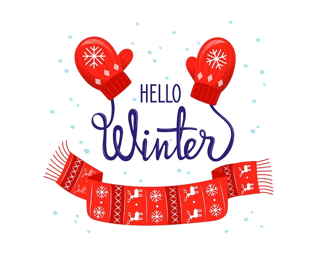 Hello winter colourful vector illustration in cartoon flat style with gradients. cosy wintertime placard style composition with lettering writing on white background. seasonal celebreation concept.