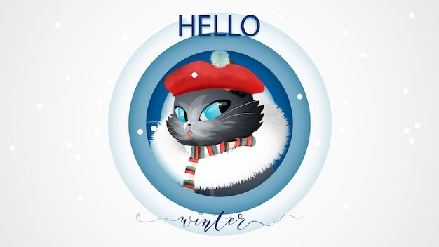 Hello winter concept lettering and cat in christmas boots watercolor style.