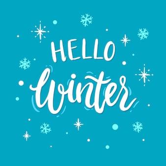 Hello winter concept lettering Premium Vector