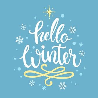 Hello winter concept lettering