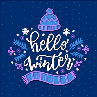 Hello winter concept lettering