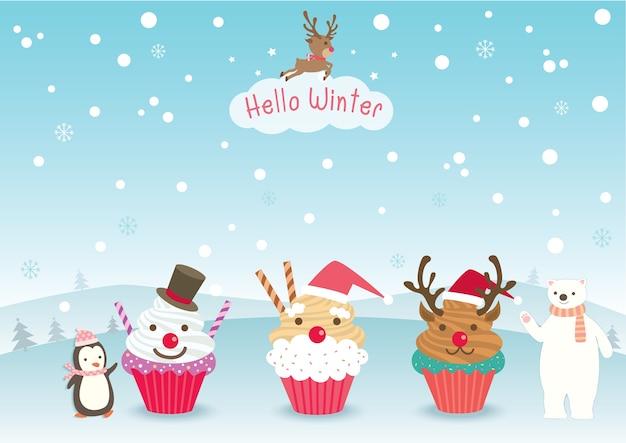 Hello winter cupcake