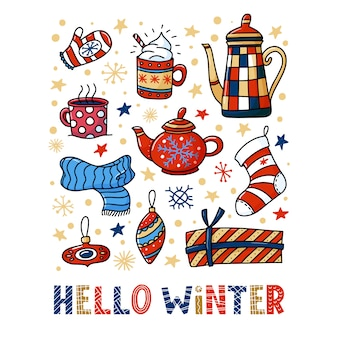 Hello winter greeting card  with teapots and cups, christmas doodles and decorations