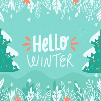 Hello winter greeting on illustrated background