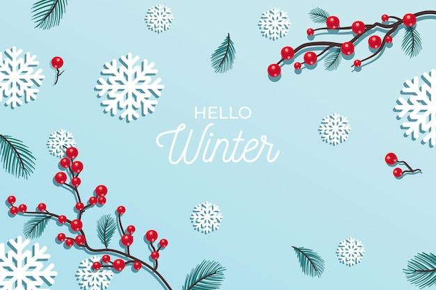 Hello winter greeting on winter background