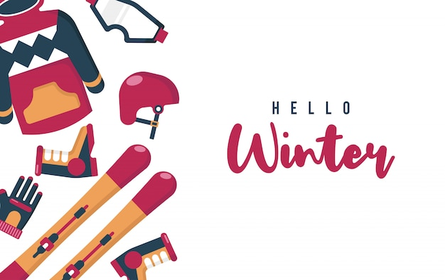 Hello winter illustration with flat  vector
