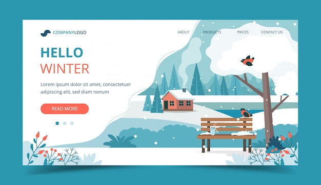 Hello winter, landscape with cute bench in the park
