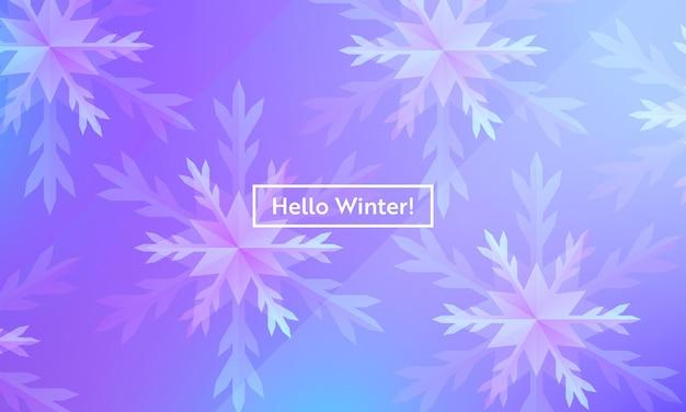 웹, 방문 페이지, 배너, 포스터, 웹 사이트 템플릿용 눈송이가 있는 겨울 레이아웃 안녕하세요. 모바일 앱, 소셜 미디어에 대한 눈 크리스마스 계절 배경. 벡터 일러스트 레이 션