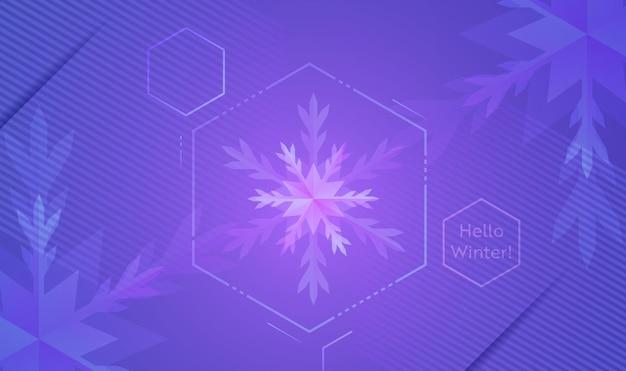 Hello winter layout со снежинками для интернета, целевой страницы, баннера, плаката, шаблона веб-сайта. снежный рождественский сезонный фон для мобильного приложения, социальных сетей. векторная иллюстрация