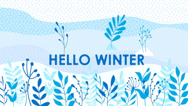 Hello winter leaves background