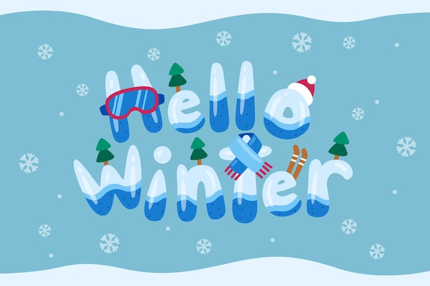 Hello winter lettering backgrond