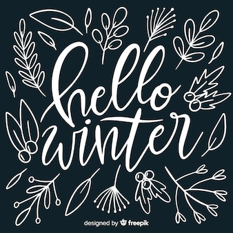 Hello winter lettering background