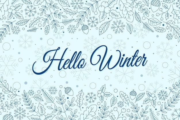 Привет зима надписи фон