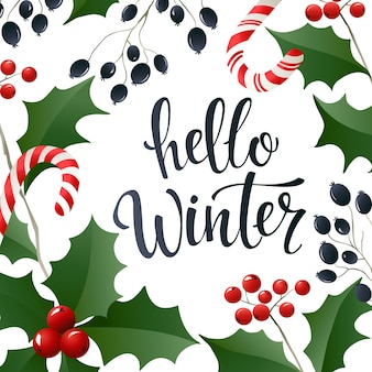 Hello winter lettering banner for web or social media