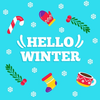 Hello winter lettering on blue background