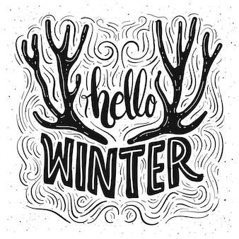 Hello Winter lettering card.