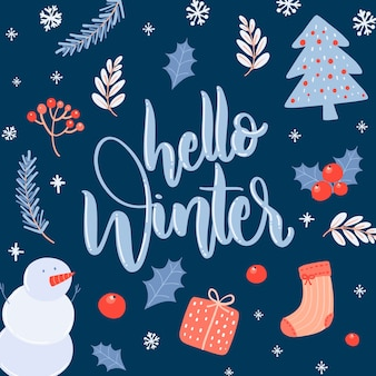 Hello winter lettering on dark blue background