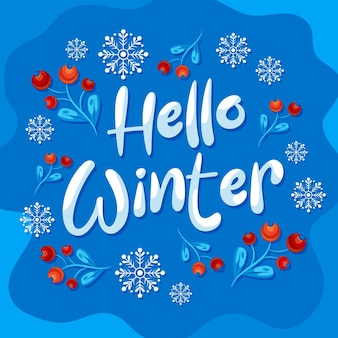 Hello winter lettering made with snow