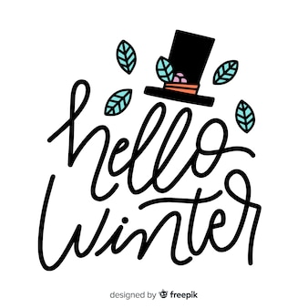 Hello winter lettering and top hat with leaves