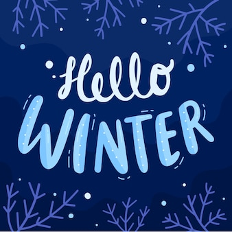 Hello winter lettering with branches
