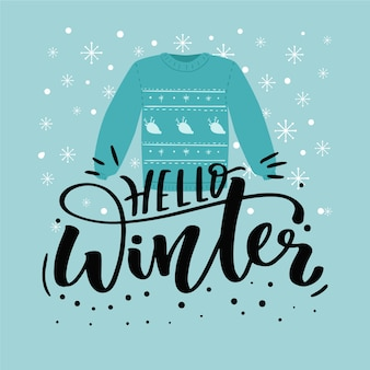 Hello winter lettering with clothes