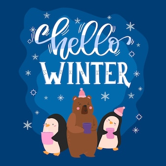 Hello winter lettering with cute animals