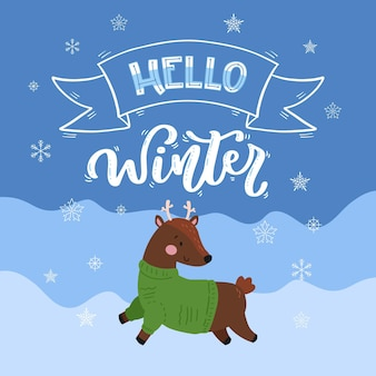 Hello winter lettering with cute baby reindeer