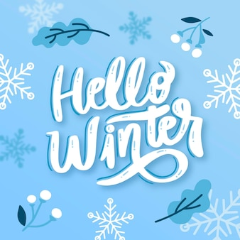 Hello winter lettering with drawn elements
