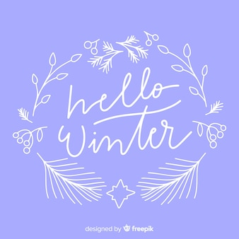 Hello winter lettering with floral white frame