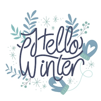 Hello winter lettering with leaves