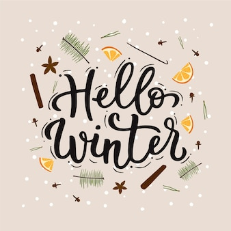 Hello winter lettering with orange