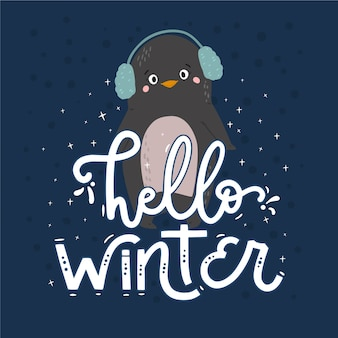 Hello winter lettering with penguin