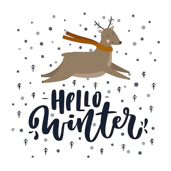 Hello winter lettering with reindeer