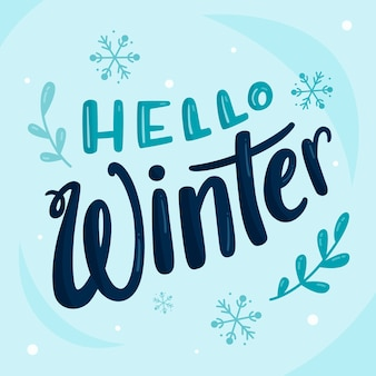 Hello winter lettering with snowflakes