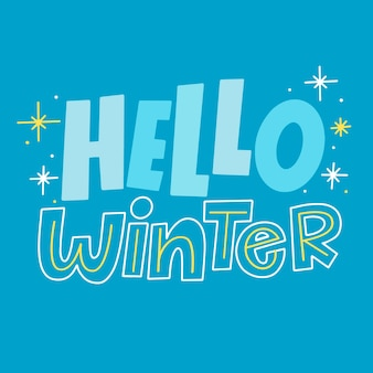 Hello winter lettering with sparkling star