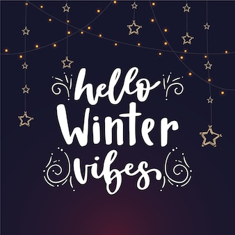 Hello winter lettering with stars