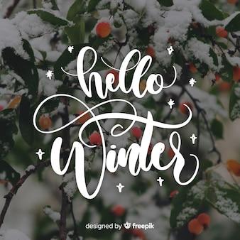 Hello winter lettering