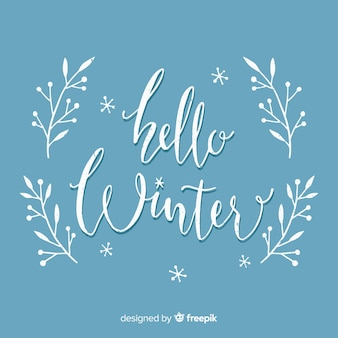 Hello winter lettering