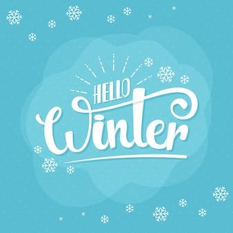 Hello winter message on blue