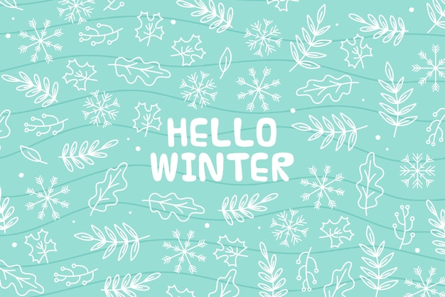 Hello winter message on illustrated background