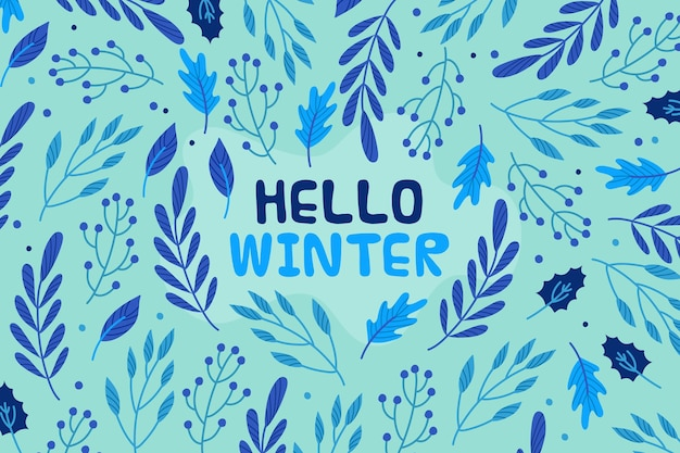 Hello winter message on illustrated wallpaper