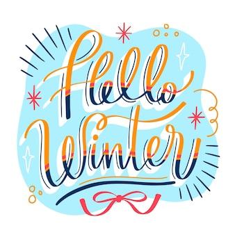 Ciao lettering messaggio invernale