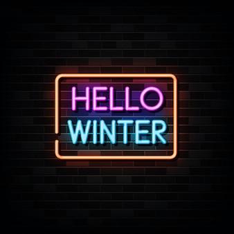 Hello winter neon sign, neon