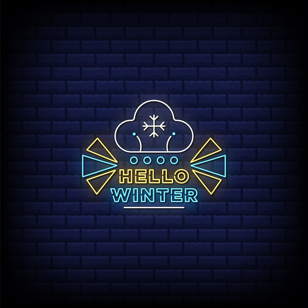Hello winter neon sign style text with snowflakes
