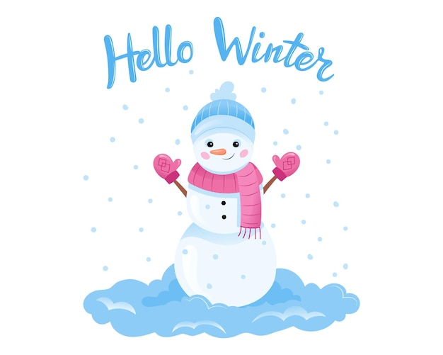 Hello winter placard type vector illustration on white background with writing. cartoon composition in flat style with smiling snowman and snowflakes near. poster layout, christmas and new year time.