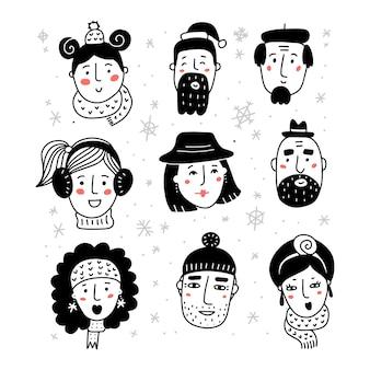こんにちは冬は、暖かい美しい帽子とスカーフでさまざまな女性と男性の白黒の肖像画を設定しました...