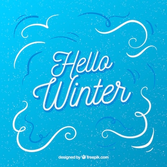 Hello winter simple blue background
