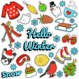 Hello winter stickers, badges, patches decoration set with snow, warm clothes and christmas tree.  doodle
