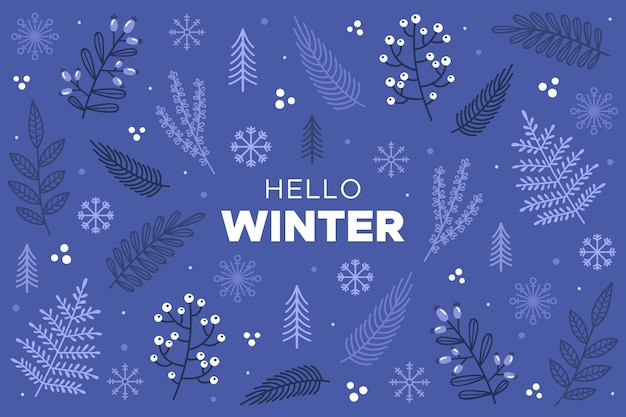 Hello winter text on drawn background