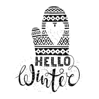 Hello winter text and knitted woolen mitten with heart
